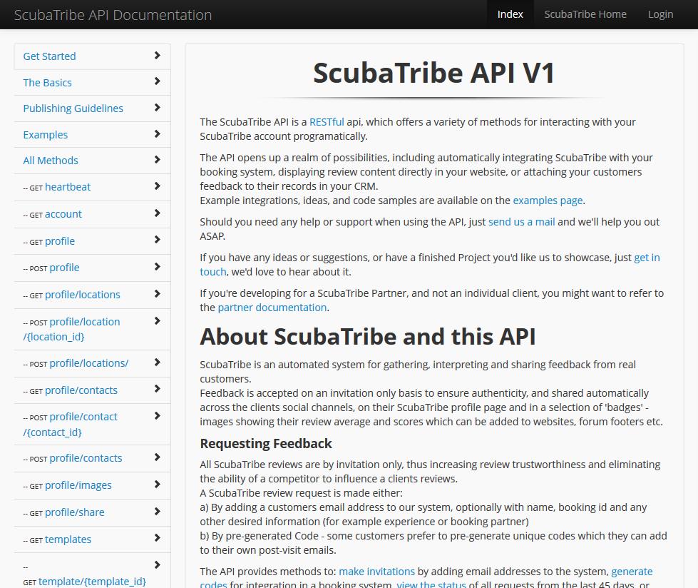 ScubaTribe API