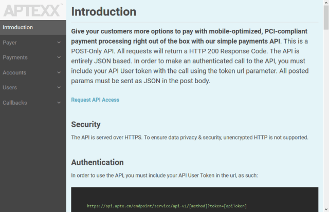 Aptexx Mobile Payments API