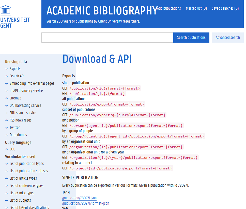 Ghent University Academic Bibliography API