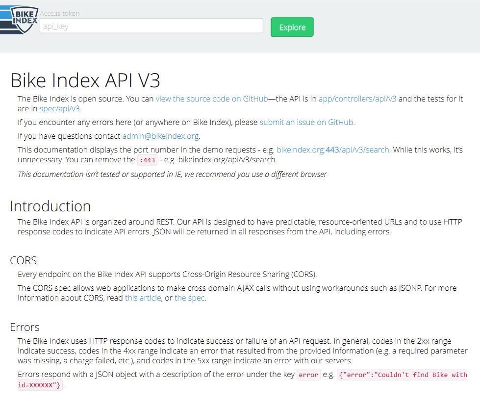 Bike Index API