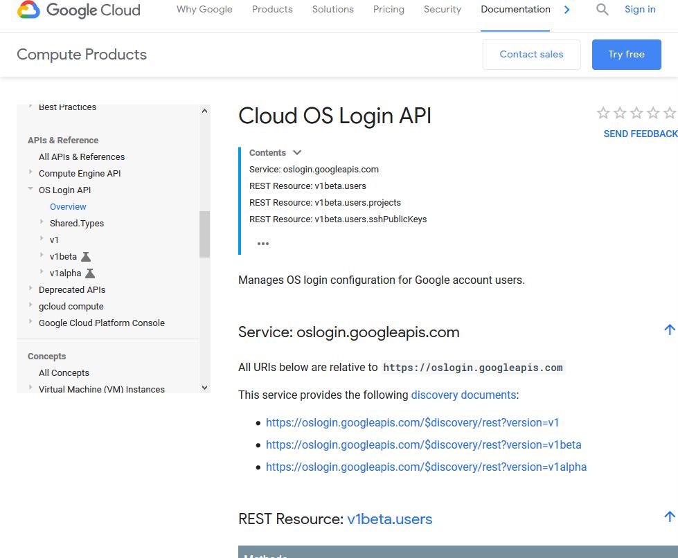 Google Cloud OS Login API