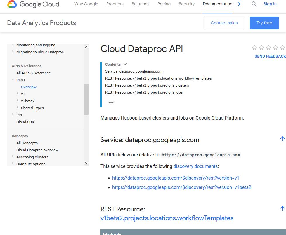 Google Cloud Dataproc API