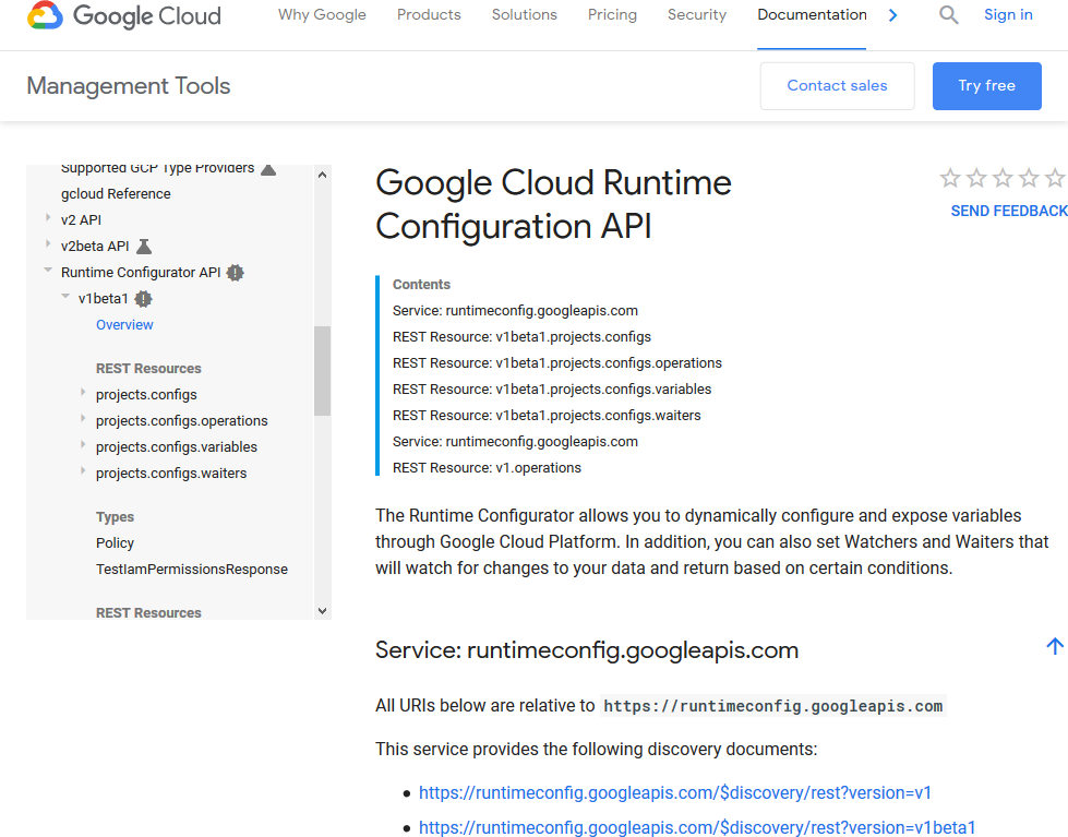 Google Cloud Runtime Configuration API