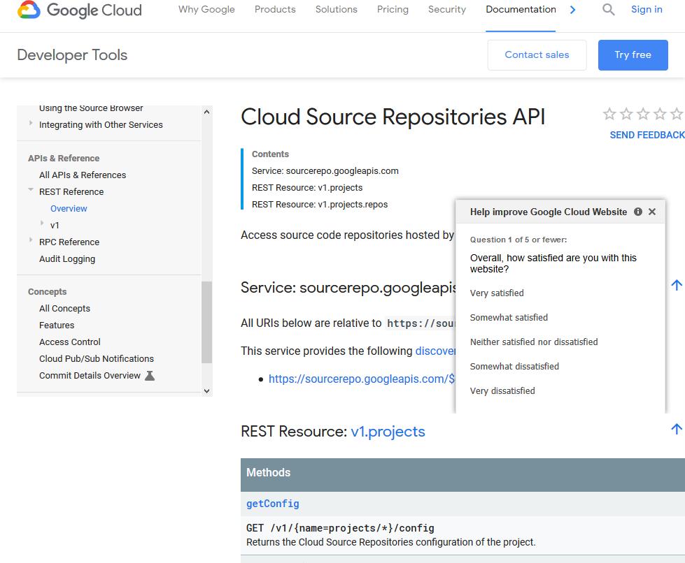 Google Cloud Source Repositories API