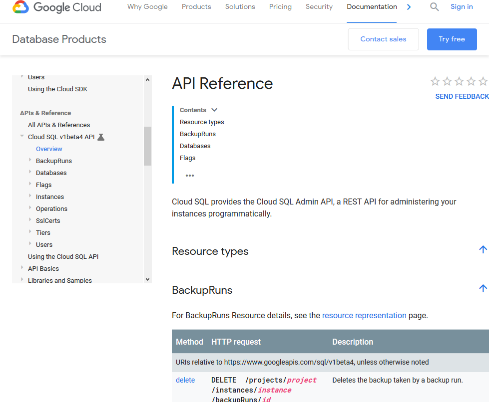 Google Cloud mySQL API