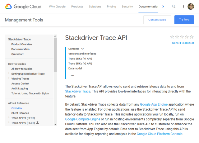 Google Cloud Stackdriver Trace Rest API