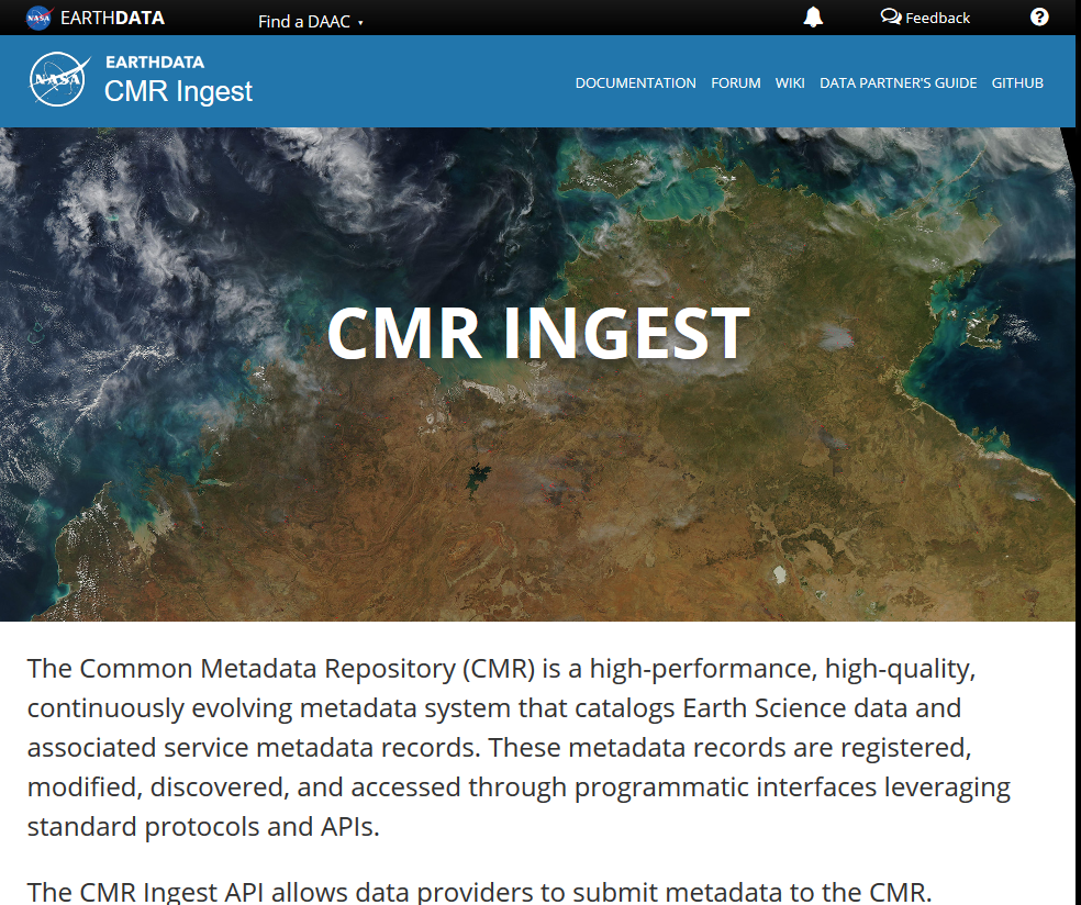 NASA Earthdata CMR Ingest API