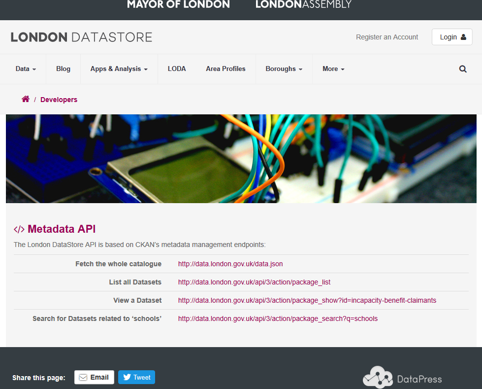 London DataStore MyLondon API