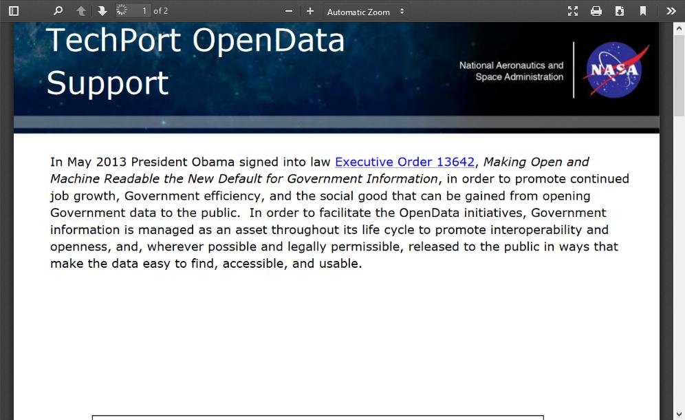 NASA TechPort OpenData Support REST API