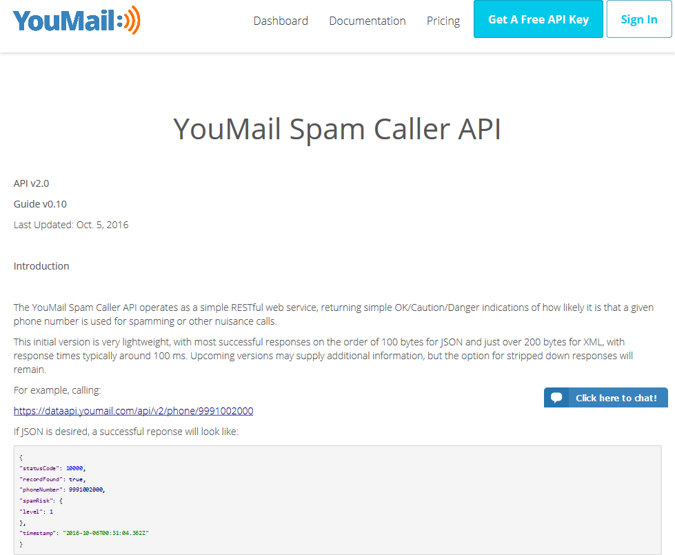 YouMail Spam Risk API