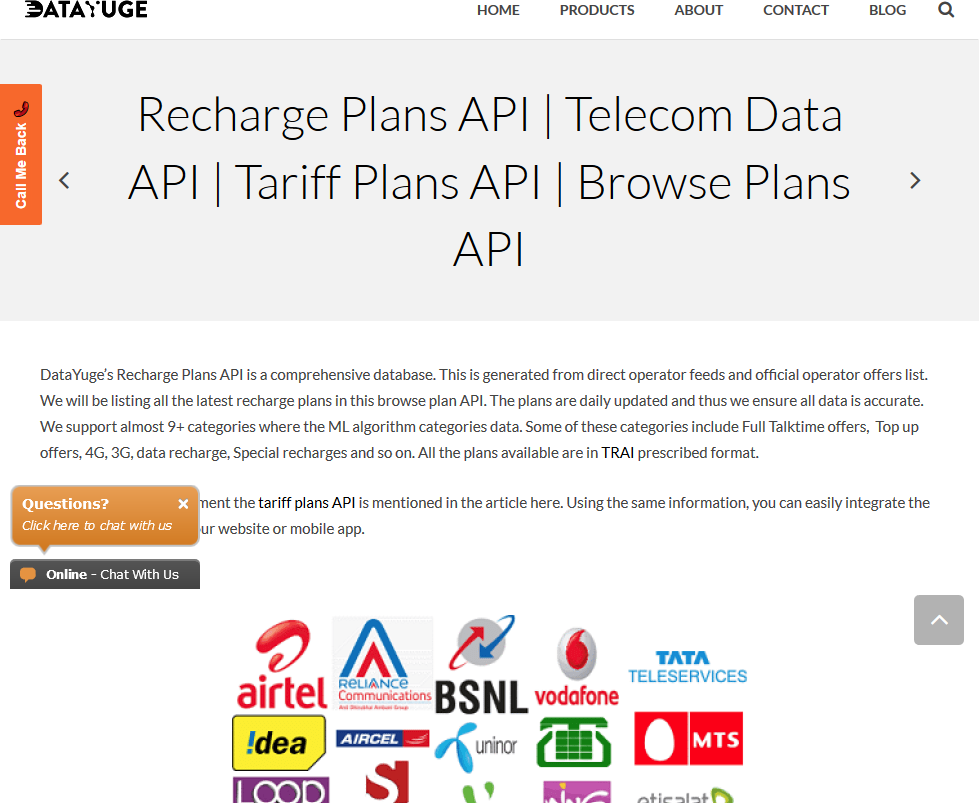 DataYuge Recharge Plans API