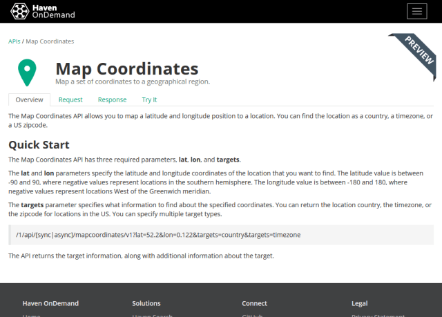 Hpe Haven Ondemand Map Coordinates API