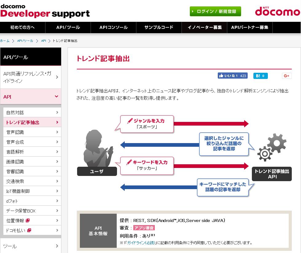 DOCOMO Trend Article Extraction API