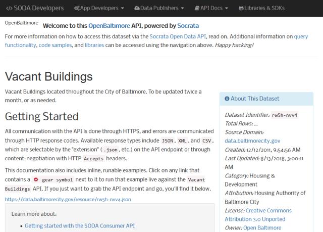 Databaltimorecitygov Vacant Buildings API