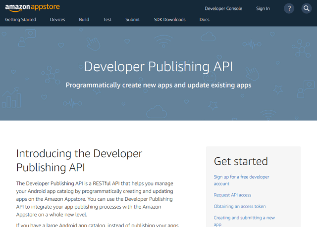 Amazon Developer Publishing API