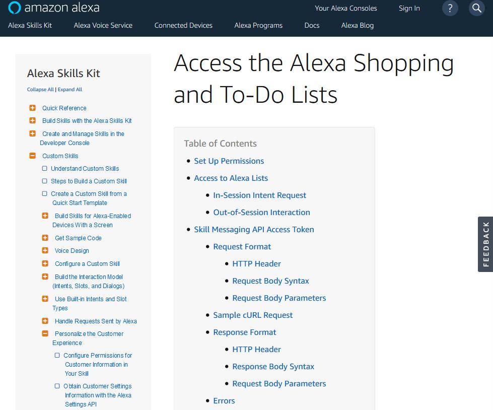 Amazon Alexa Shopping and To Do List API