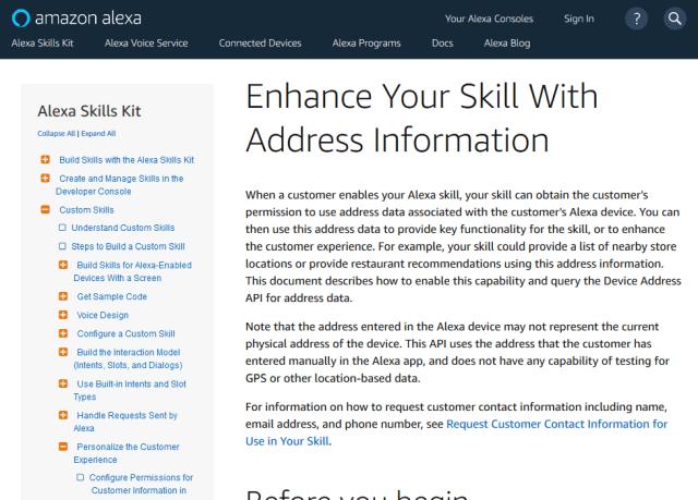 Alexa Device Address API