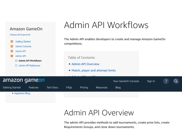 Amazon Gameon Admin API