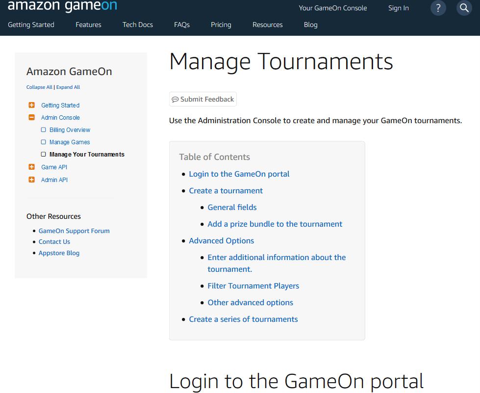 Amazon GameOn Admin Console API