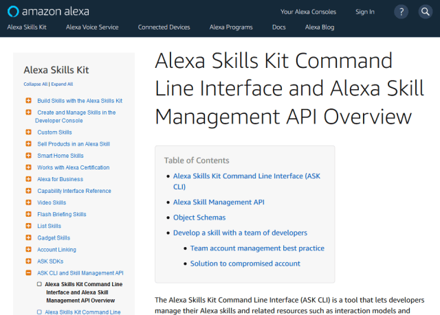 Alexa Skill Management API