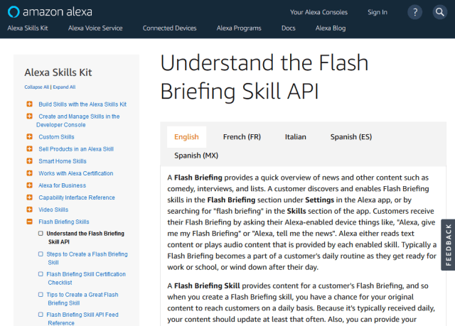 Amazon Alexa Flash Briefing Skill API