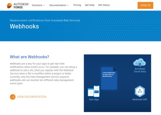 Autodesk Forge Webhooks API