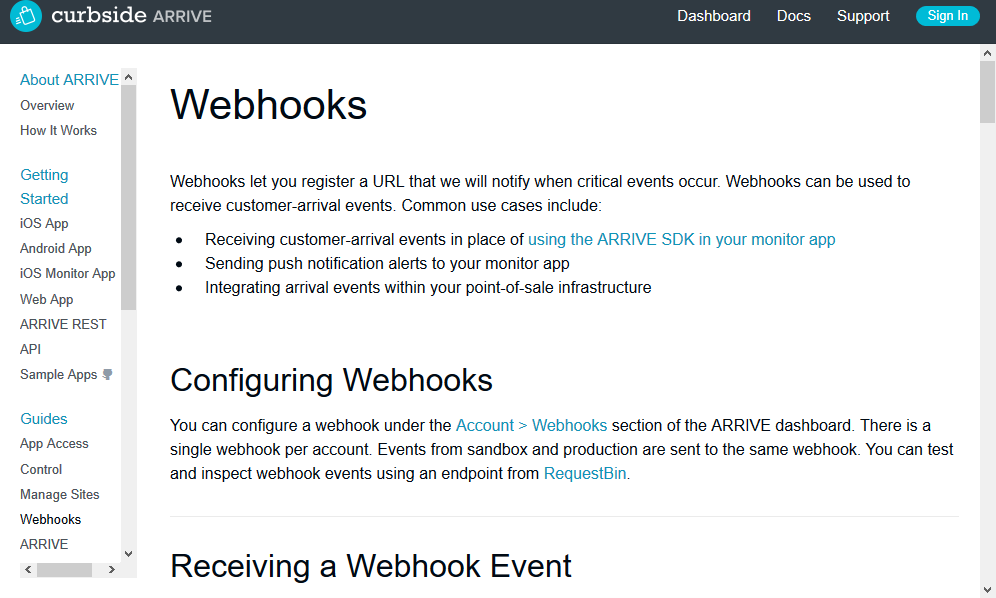 Curbside ARRIVE Webhooks API