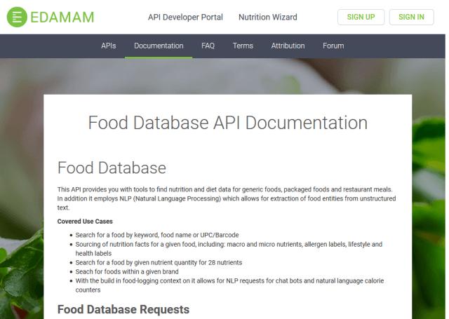 Edamam Food Database API (Overview