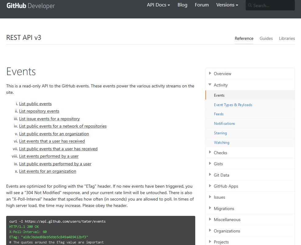 GitHub Activity Events API