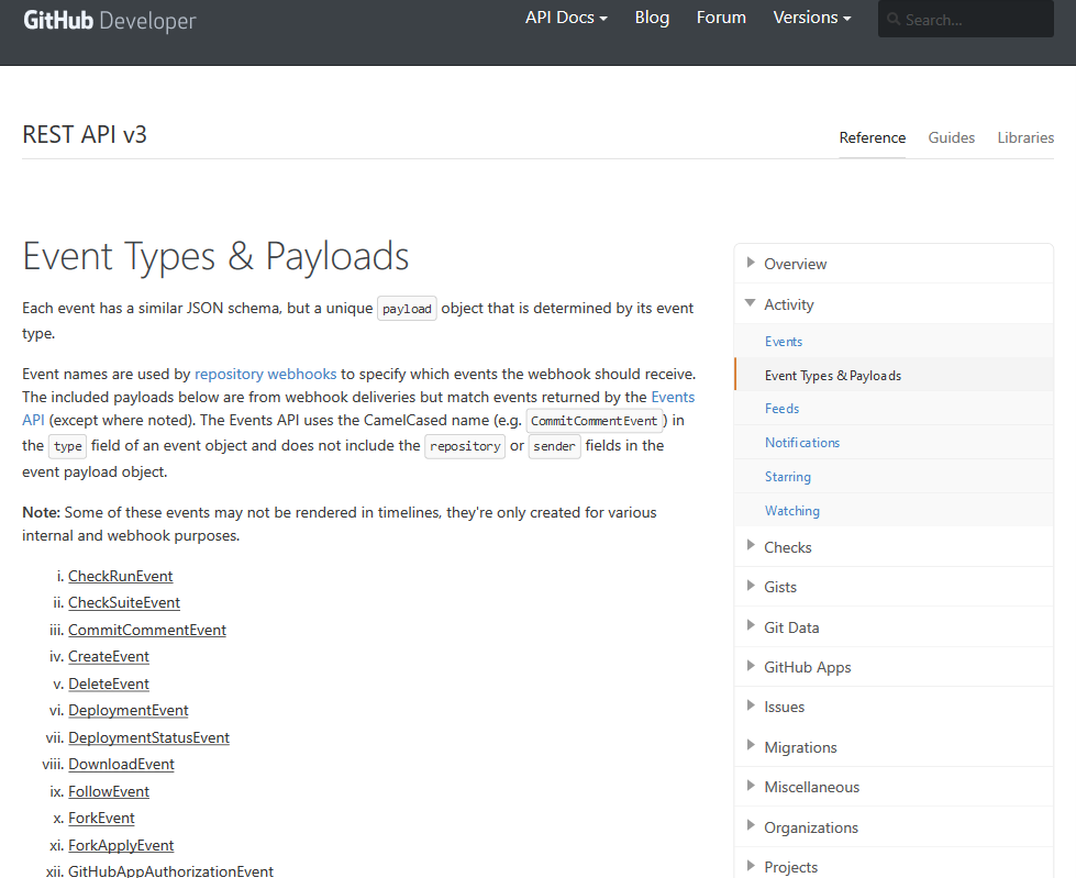 GitHub Activity Event Types & Payloads API