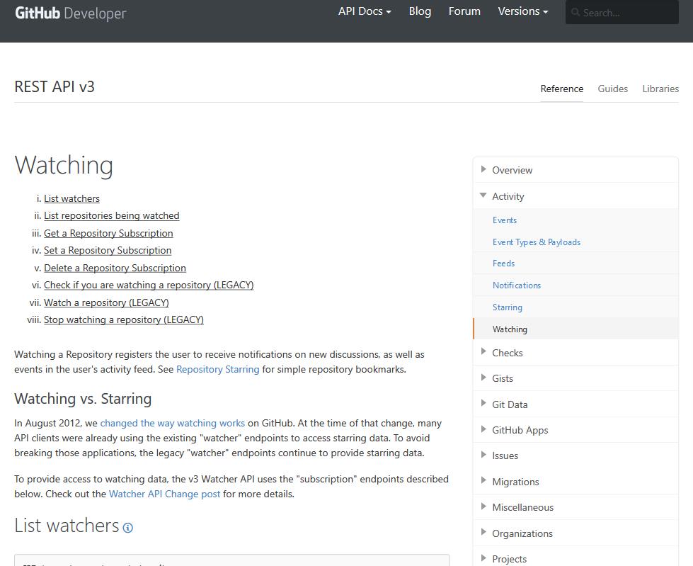 GitHub Activity Watching API