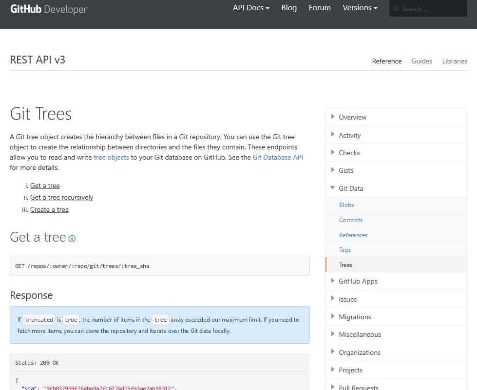 GitHub Git Trees API