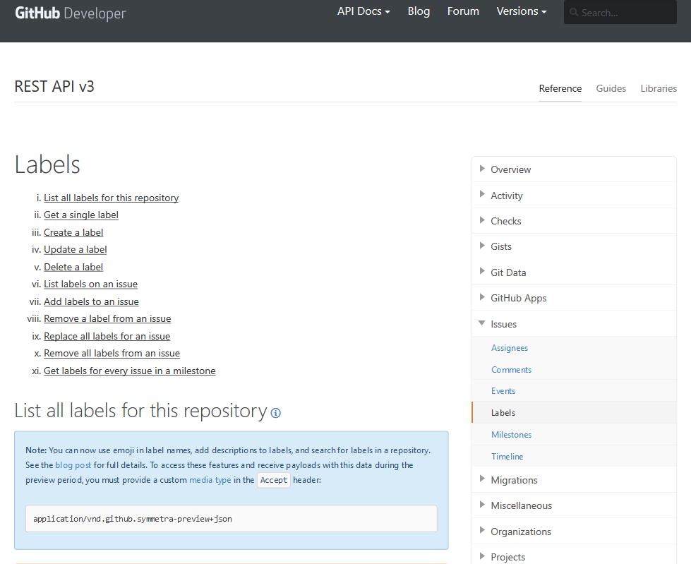 GitHub Issue Labels API