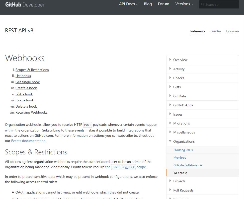 GitHub Organization Webhooks API