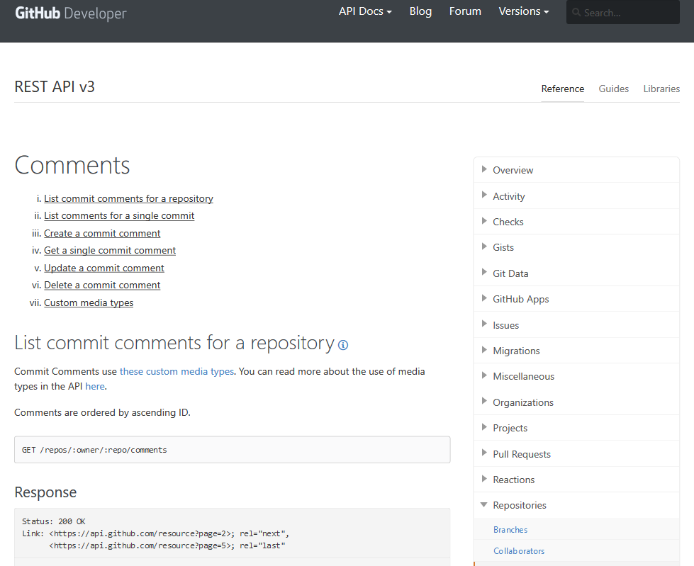 GitHub Repository Comments API
