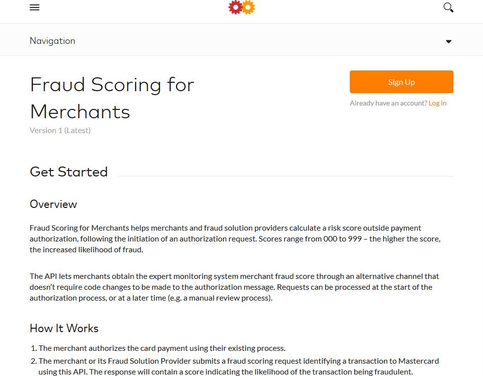 MasterCard Fraud Scoring for Merchants API