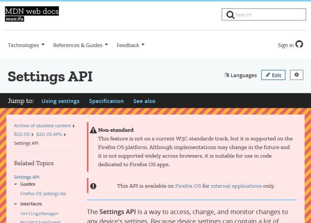 Mozilla Settings API