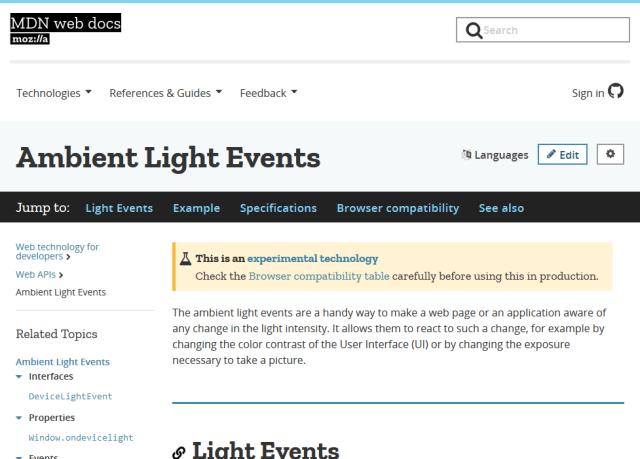 Mozilla Ambient Light Sensor API