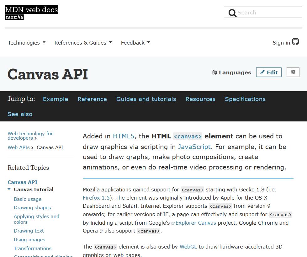 Mozilla Canvas API