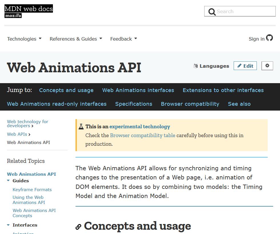 Mozilla Web Animations API