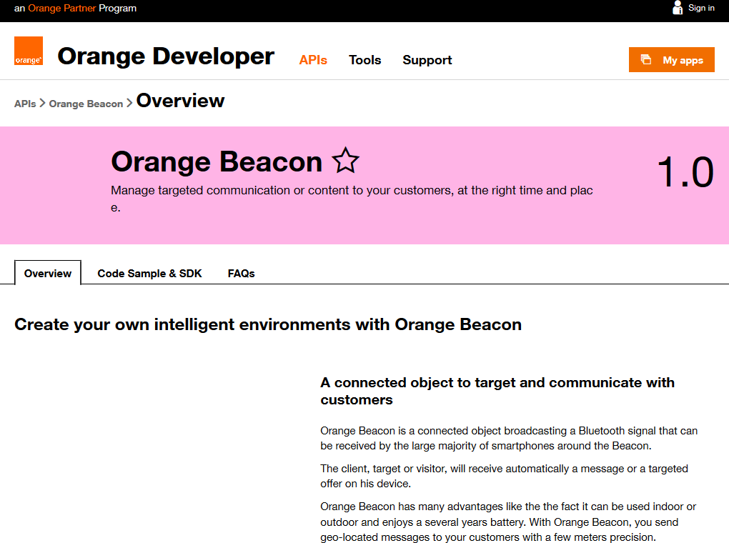 Orange Beacon API