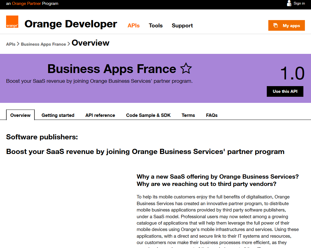 Orange Business Apps France API