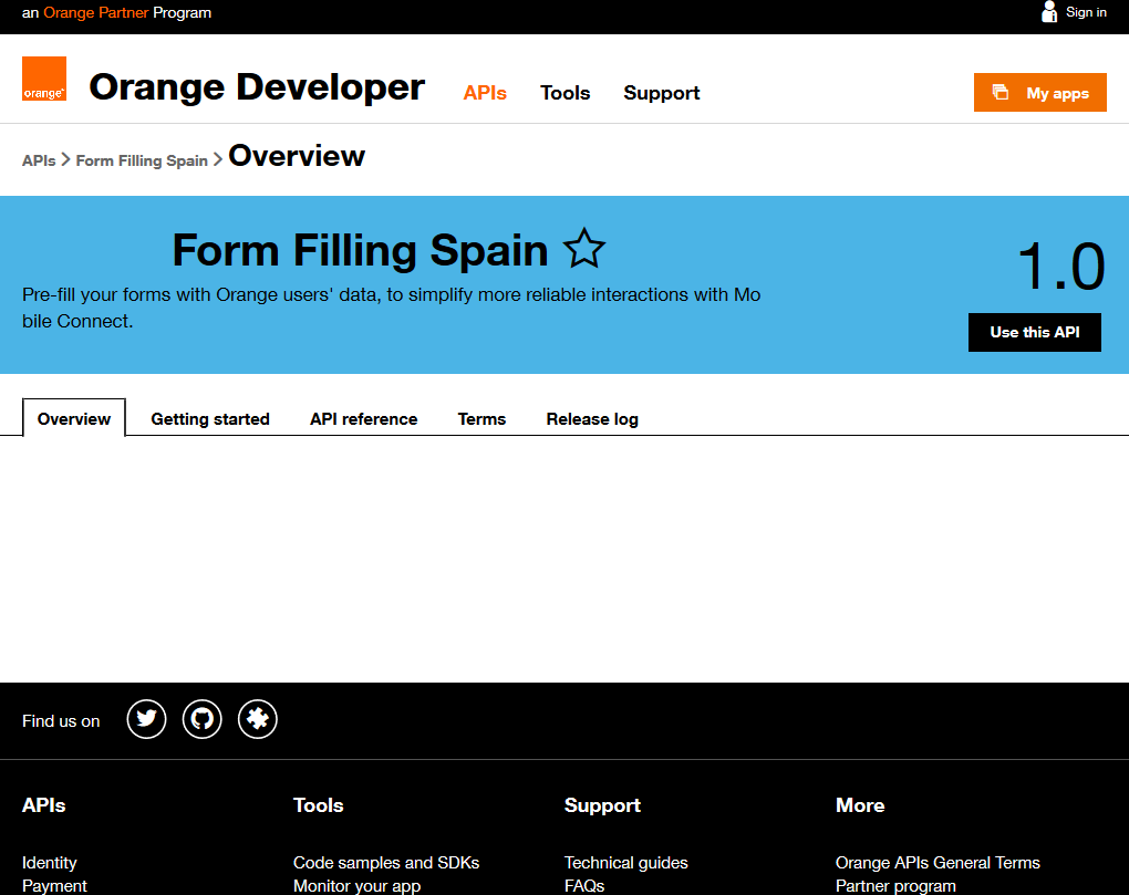 Orange Form Filling Spain API