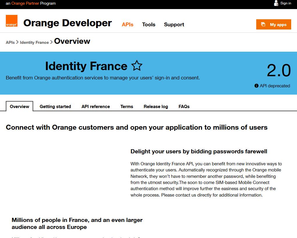 Orange Identity API