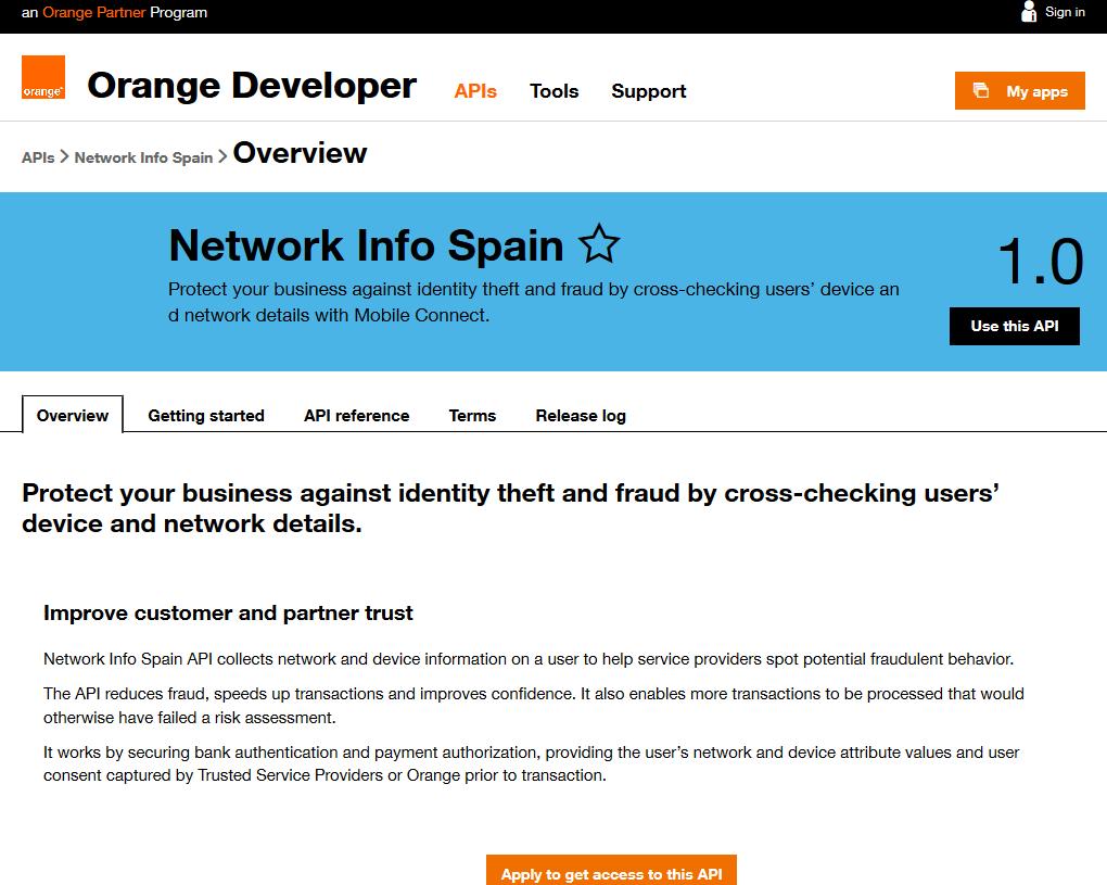 Orange Network Info Spain API