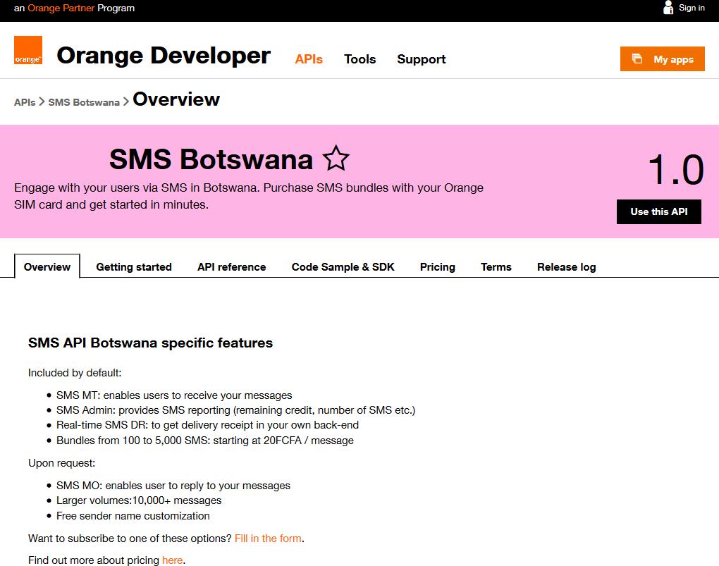 Orange SMS Botswana API