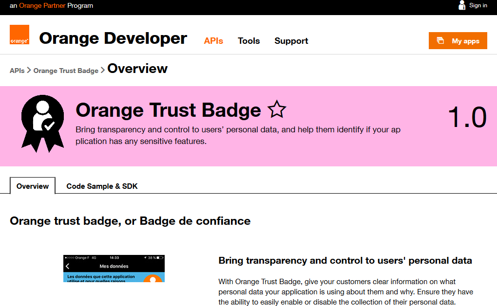 Orange Trust Badge API