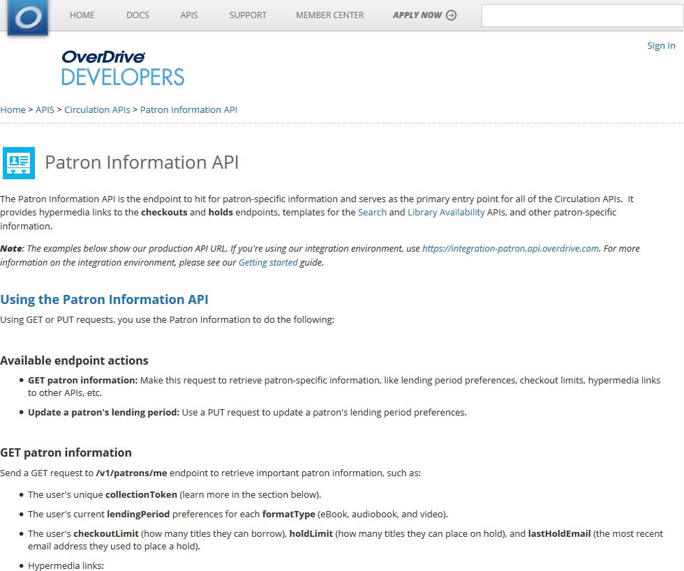OverDrive Patron Information API