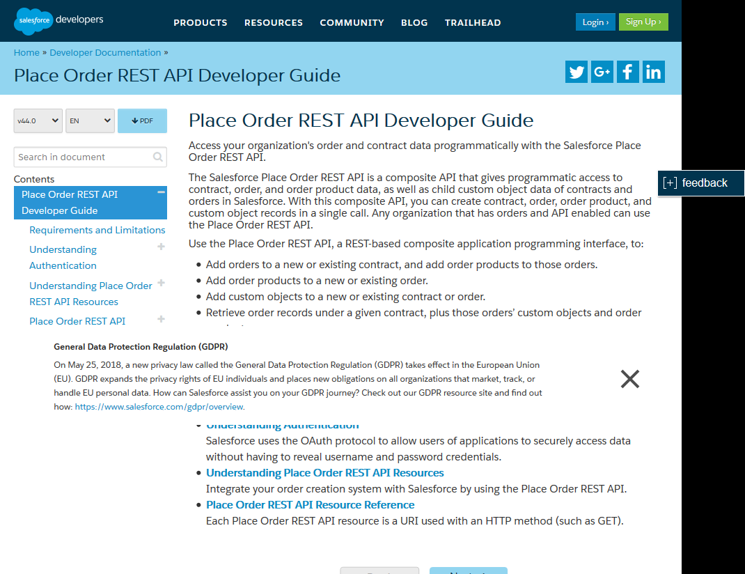 Salesforce.com Place Order API