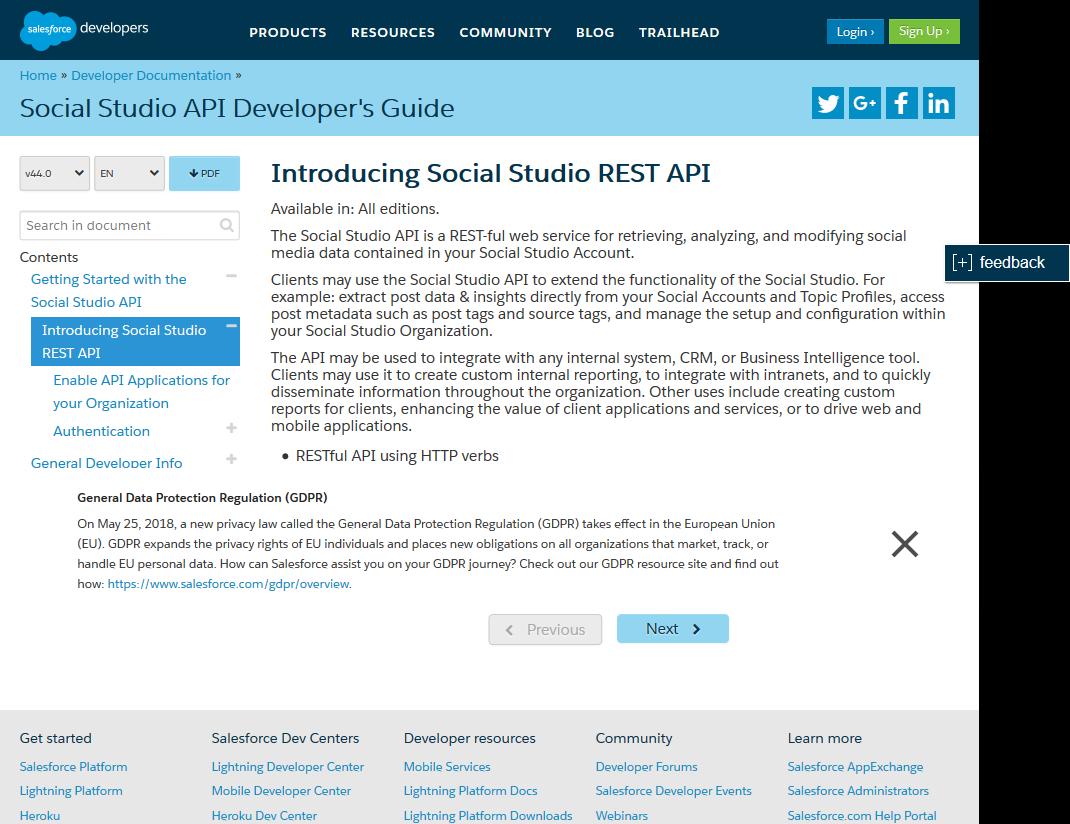 Salesforce.com Social Studio API